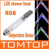 Wholesale Temperature Sensor Handheld Round Bar RGB Color LED Shower Head H4743 No Need Power freeshipping dropshipping