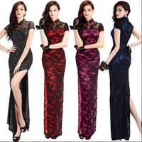 cheongsam - 5061 Cheap Chinese Dresses Evening Dress Open fork long cheongsam lace Chinese style dress sexy female cheongsam remark the color and size
