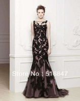 Wholesale 2014 New High Quality Black Applique Tulle Spaghetti Strap Long Party Prom Dresses Evening Dresses Custom Size