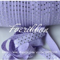 foe - 5 quot silver polka dots printed fold over elastic lavender print foe for hair accessories yards