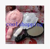 Wholesale DHL Freeshipping Vintage Rose Cosmetic Mirror Plastic Makeup Mirror Cute Girl Hand Make Up mirror