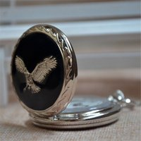 Wholesale Hot sell Unisex Eagle Silver Black Retro Quartz Pocket Watch Pendant Necklace Chain Christmas New Year Gift