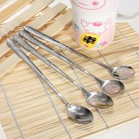 Wholesale 6pcs Stainless Steel Spoons for Ice Cream Coffee Cocktail Teaspoons Soup Tea Mixer