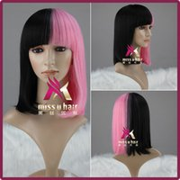 beautiful bobs hair - Miss U hair cm Short Straight Bob Hair Black and pink Color Beautiful Lolita Party Cosplay Wig Anime Wigs Wig Cap