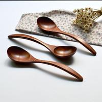 al por mayor cuchara de estilo japonés-Cucharas curvas de la cena de la manija, cucharas de la sopa de Kembat de los cuchillos de la manera del estilo de Corea del japonés 18 * 4.5cm MOQ: 20 pedazos