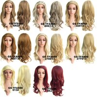 Wholesale new fashion girl Synthetic Wigs women party Long Blonde Falls wig High temperature wire half a head a wig