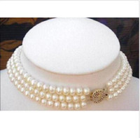 Wholesale Real Cultivation Pearl Strand MM White Pearl Choker Necklace