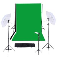 background support system - Photography Photo Studio Video Lighting Kit with Black White Green Muslins Backdrops Background Soft Umbrella Support System D1671