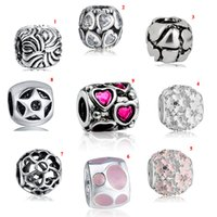 Wholesale Women Silver Loose Beads Heart Charms Openwork Enemal for Bracelet Necklace DIY Jewelry Making ColorsP0826