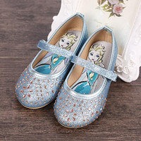 Wholesale 2016 New Girls shoes Frozen Elsa Shoes Leather Shoes glittery blue white Baby Girls Fashion Casual Princess Dress shoes with Crystals
