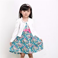 Wholesale 2015 Spring Autumn Kids Trench Coat Girls Outerwear White Cotton Long Sleeve Short Clothes Children Cute Coat