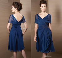 Wholesale Chiffon A line Knee length Mother of the bride dresses Beads Off shoulder Fashion New style Plus size Appliques Women party gowns