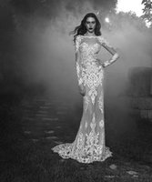Wholesale Zuhair Murad Wedding Dresses Sheer Lace Long Sleeves Bridal Gowns With Crew Neck Zip Back Formal Reception Wedding Gowns