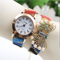 Wholesale 2015 styles geneva women bracelets watchs fashion ladies rose flower peacock feather pearl bead diamond quarts wrist watches