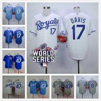 wade - 2015 World Series Patch Kansas City Royals Jersey Wade Davis Johnny Cueto Mike Moustakas