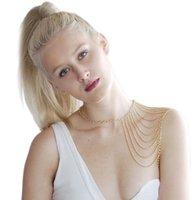 Wholesale Body Jewelry Multi layers Tassels Chain Women Punk Silvery Body Chain Waist Shoulder Tassel Chain Harness Bib Necklace
