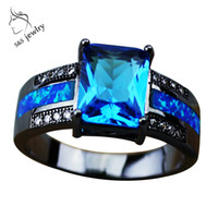 10k gold ring - Luxury k Real Black Gold Filled Loyal Blue Opal Rings For Men Women Party Accessories Hot Sale Charm Rings Christmas Gift