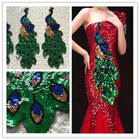 sequin applique patch - 1 piece patches for sewing embroidery with sequins peacock pattern flower applique clothing patches sewing accessories zakka patchwork new