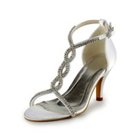 beach shoes for wedding - Cheap Summer Beach Bridal Wedding Shoes White Ivory Rhinestone Paillette Open Toe cm Stiletto Heel Women Shoes for Party Prom Evening