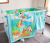 Wholesale 9 Pieces Blue stereoscopic ocean world fish hippocampus baby bedding set Quilt Bumper Skirt Mattress Cover Urine bag blanket