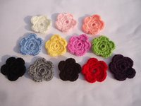 Wholesale 50pcs DIY Crochet flowers Headband Babys Girls Kids small shoe Knitting wool flower Children Kids Hair Garment Accessories colors