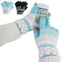 Wholesale Unisex Women Winter Warm Capacitive Touch Screen Knit Cotton Telefinger Gloves