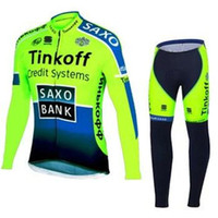 Wholesale saxo bank tinkoff green Cycling Jersey winter thermal fleece long sleeve bib pants Bicycle clothing Set men bike maillot roupa ciclismo