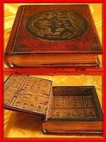 Jewelry Boxes all Jewelry Wood Wholesale cheap Chinese old leather dragon & phoenix Wooden Book Box ,16.5CM X19.5CM