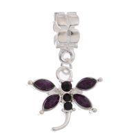 Wholesale 10PCs Jewelry Products Purple Rhinestone Dragonfly Dangling Fit Charm Bracelet Min Order