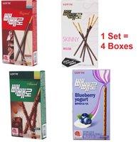 Wholesale Lotte Pepero Chocolate Stick boxes Flavors Original Skinny Almond Blue berry Yogurt Korea food