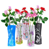 Wholesale 5 Beautiful Fordable Flower Vase DIY PVC Vase Home Decoration Random Color