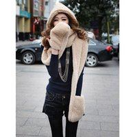 Wholesale Hot Fashion Thickening Plush Cashmere Hooded Scarf Scarves Hats Gloves Winter Warm Ear Hand Protect One Couple color