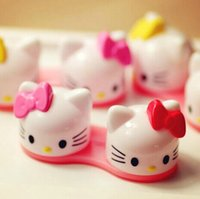 Wholesale New D Hello Kitty Cartoon Contact Lenses Box Funny Eyewear Cases