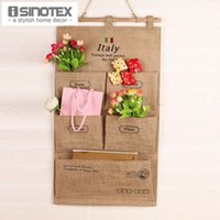bath linen - Natural Storage Bag Cotton Linen Fabric Hanging Organizers Wall Style Make Up Bath Pocket Holder