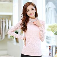 Cheap Hot Sale Brand Blusas Femininas 2014 Autumn Winter Women Slim Plus Size Blouses Fashion Crochet Lace Top Lady blusa de renda Free Shipping