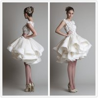 Wholesale 2015 Krikor Jabotian Evening Dresses Lace Organza Tiers Puffy Short Prom Gowns Jewel Neck Sexy Illusion Back Girls Cocktail Pageant Wear