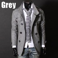 asia single - 2015 Casual Men Slim Spring Autumn Trench Coat Jacket Woolen Button Outwear Asia Size M XL Outdoor windbreaker jackets man
