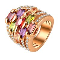 Wholesale High Quality Zircon Ring K Gold Plated Rhinestone Gorgeous Multi layer Engagement Rings Austrian Crystal Wedding Ring Charm Jewelry Z0215