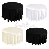 table covers - 108 quot Satin Tablecloth Table Cover White Black Round for Banquet Wedding Party Decor Wholesales CTH