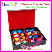 Wholesale Black Leather Storage Display Sample Case Box Tray For Holding Sunglasses Glasses Eyewear Eyeglass A635 S
