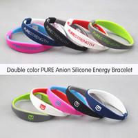 Wholesale PURE Unisex Casual Sporty Double color Anion Silicone Letter Round Fashion Bracelets Charm Bracelets Hologram Bracelets ID Identific QS