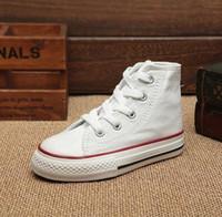 Wholesale kids shoes Boy girl Children s Canvas Shoes kids Cute Leisure Sports Shoes low high top Rubber Bottom colors size