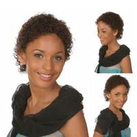Exquisitas pelucas de peinado resistentes al calor con marrón oscuro corto rizado para las mujeres de moda