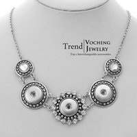 antique vintage jewelry - VOCHENG NOOSA Vintage Snap Button Chain Necklace Women Antique Silver Jewelry for Free Style NN