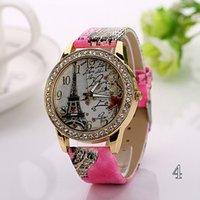 Wholesale Fashion Lady Dress Watches Luxury Diamond Eiffel Tower Pendant flower printed Leather Wristwatches Crystal Eiffel Tower Women Quartz Clock