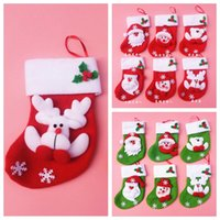 Wholesale Christmas Mini Socks Christmas Gift Bags Red Green Santa Milu Bear Snowman Lovely Sockings Large Decals Gift Socks