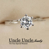 Wholesale Classic Engagement Ring K White Gold Plated Prongs mm Zirconia Lady Wedding Ring Gold Silver KRGP Stamp
