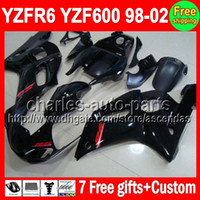 For Yamaha fairings - 7gifts For YAMAHA YZF R6 YZF600 C L509 Glossy black YZF YZF R6 YZFR6 Fairing Kit On sale