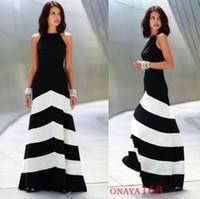 Wholesale European style black and white striped stitching waist was thin dress fashion sexy long dresses