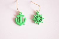 anchor earrings dangle - hot new fashion jewelry women fluorescent color anchor Rudder earrings